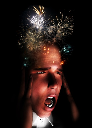 Man whose mind is exploding with stress and pain. Stock Photo - 12769827