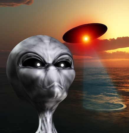 An alien watching the skies for UFOs  Stock Photo