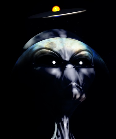 extra terrestrial: An alien watching the skies for UFOs  Stock Photo