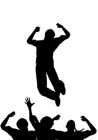 Concept image about being positive and jumping for joy. photo