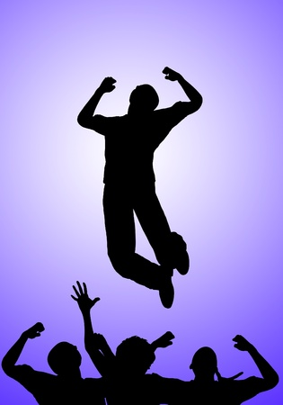 Concept image about being positive and jumping for joy. Stock Photo - 13106503