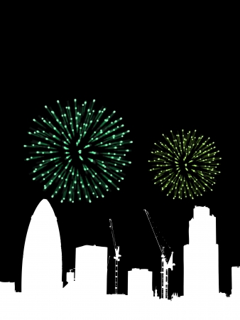 gherkin building: Fireworks going off over a silhouetted London.