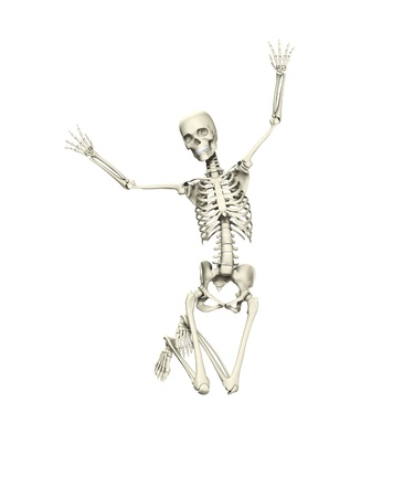 Skeleton that is jumping for joy with happiness.
