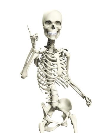 매우 익살 포즈를 제기하는 뼈대. 스톡 콘텐츠