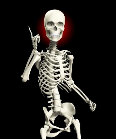 quizzical: Un esqueleto que se plantea de una manera muy burlona actitud.