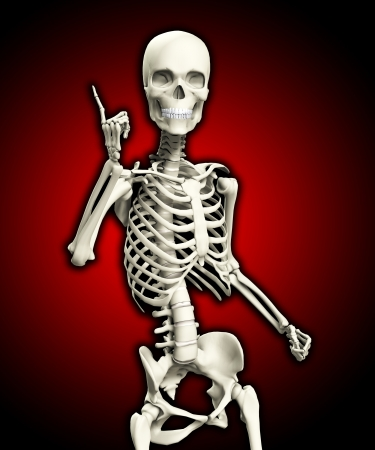 A skeleton that is posed in a very quizzical pose. photo