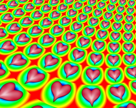Fractal pattern made out of colourful hearts