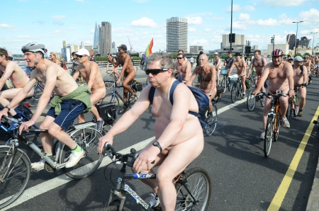 London - June 9: Participants In World Naked Bike Ride Day In London June 9th, 2012 in London, England. Stock Photo - 14721496