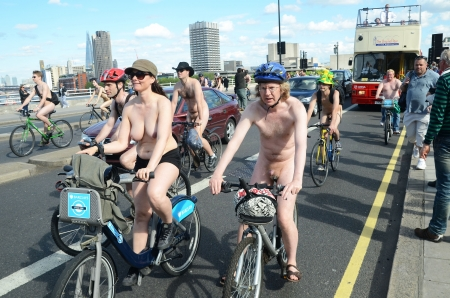 London - June 9: Participants In World Naked Bike Ride Day In London June 9th, 2012 in London, England. Stock Photo - 14721475