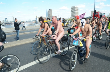 London - June 9: Participants In World Naked Bike Ride Day In London June 9th, 2012 in London, England. Stock Photo - 14721493
