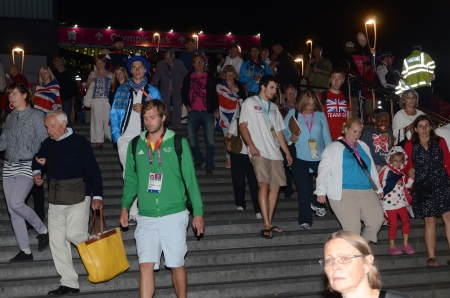 depart: People Depart The Olympic Closing Ceremony at the Olympic Stadium London 12th August 2012
