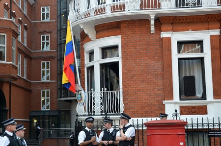 London � August 19: The Balcony At The At the Julian Assange Protest Outside The Ecuadorian Embassy London August 19th, 2012 in London, England. Editorial