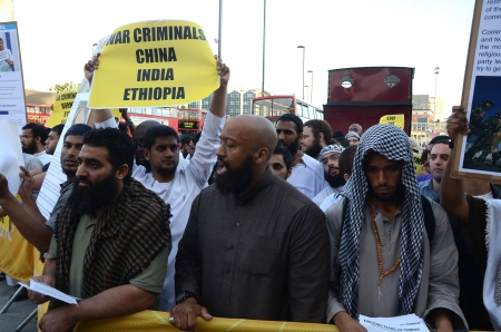 fundamentalism: London � August 12: Abu Izzadeen Radical Muslim Protesters outside the closing ceremony at the Olympic Stadium  In London  August 12th, 2012 in London, England. Editorial