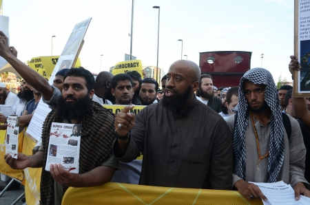 fundamentalism: London – August 12: Abu Izzadeen Radical Muslim Protesters outside the closing ceremony at the Olympic Stadium  In London  August 12th, 2012 in London, England.