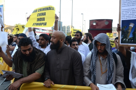 London – August 12: Abu Izzadeen Radical Muslim Protesters outside the closing ceremony at the Olympic Stadium  In London  August 12th, 2012 in London, England. Stock Photo - 15792223