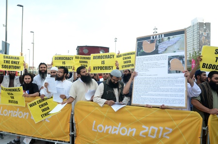 fundamentalism: London – August 12: Radical Muslim Protesters outside the closing ceremony at the Olympic Stadium  In London  August 12th, 2012 in London, England.