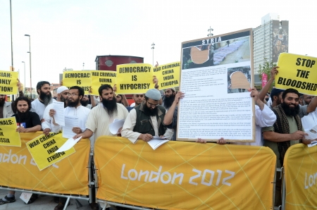 London � August 12: Radical Muslim Protesters outside the closing ceremony at the Olympic Stadium  In London  August 12th, 2012 in London, England. Stock Photo - 15837238