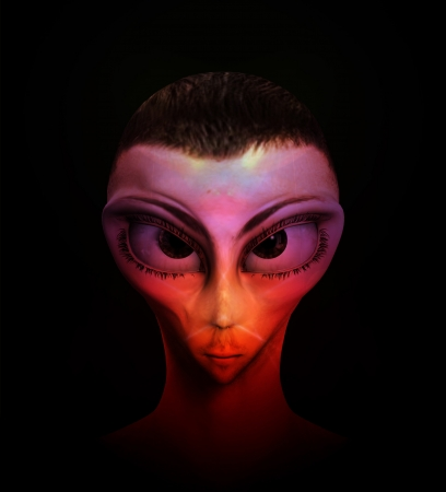 hybridization: Alien human hybrid that is a staring in a sinister way. Stock Photo