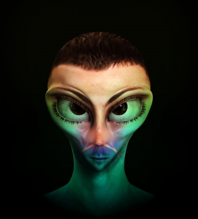 Alien human hybrid that is a staring in a sinister way. Stock Photo - 15830583