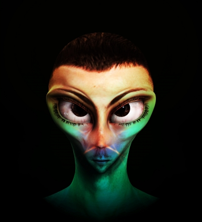 Alien human hybrid that is a staring in a sinister way. Stock Photo - 15830582
