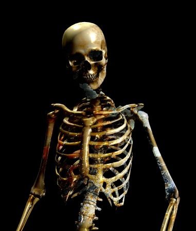 Skeleton figure with a dirty texture overlay to give the impression of decay. Stock Photo - 15830621