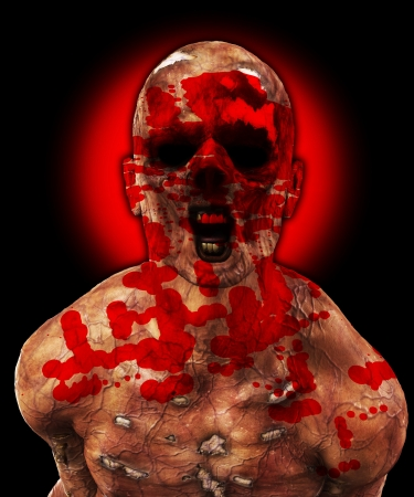 Horrible rotten Zombie caked in human blood Stock Photo - 15830648