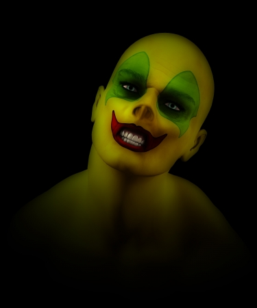 clownophobia: Close up of a mad Psycho clown  Stock Photo