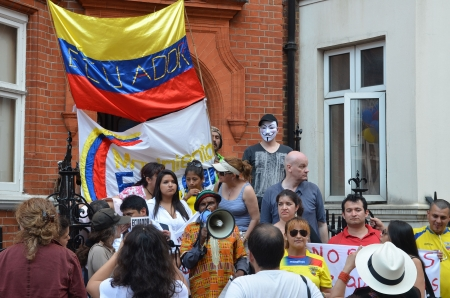 protesters: London � August 19: Protesters Outside Julian Assange Protest Outside The Ecuadorian Embassy London August 19th, 2012 in London, England. Editorial