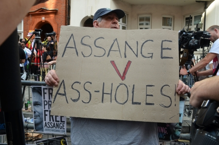 knightsbridge: London � August 19: Rude Protester Outside Julian Assange Protest Outside The Ecuadorian Embassy London August 19th, 2012 in London, England.
