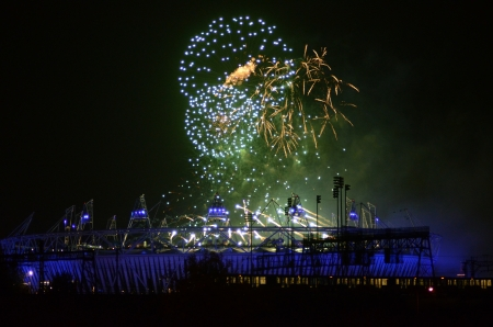 London � September 9: Firework Signifying The End Of The Paralympic Games Closing Ceremony In Stratford London September 9th, 2012 in London, England.  Stock Photo - 15876877