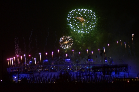 september 9th: London – September 9: Firework Signifying The End Of The Paralympic Games Closing Ceremony In Stratford London September 9th, 2012 in London, England.  Editorial