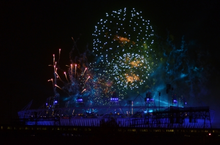 London – September 9: Firework Signifying The End Of The Paralympic Games Closing Ceremony In Stratford London September 9th, 2012 in London, England.