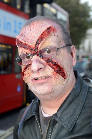 fester: London � October 13: People celebrate World Zombie Day London 2012 by dressing as Zombies October 13th, 2012 in London, England.