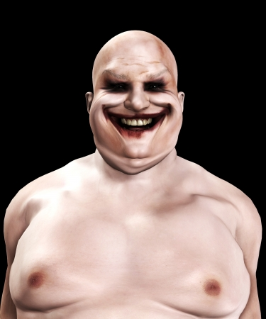 Very fat and horrible psychopathic looking clown.
