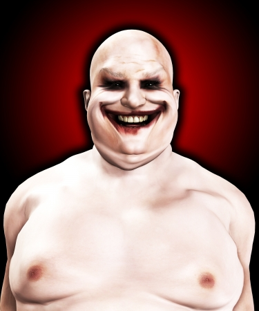 clownophobia: Very fat and horrible psychopathic looking clown.