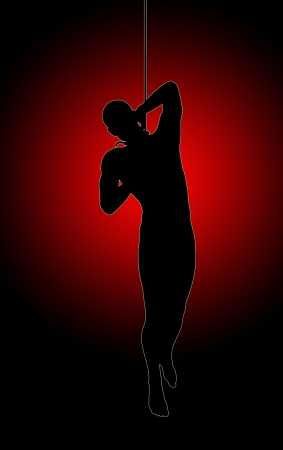 Silhouette of a hanging man for horror and corporal punishment concepts Stock Photo - 15926583
