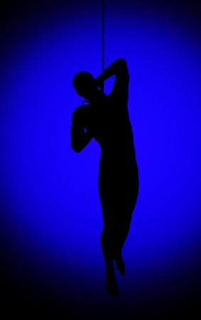 corporal: Silhouette of a hanging man for horror and corporal punishment concepts