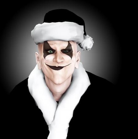 clownophobia: An evil looking clown Santa Claus. Stock Photo