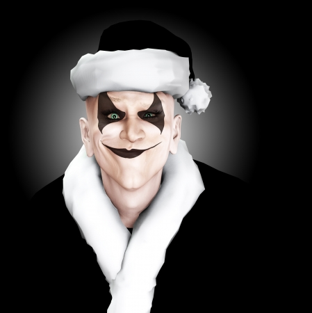 insane insanity: An evil looking clown Santa Claus. Stock Photo