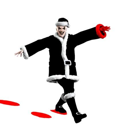clownophobia: Evil Santa Claus clown skipping through the snow. Stock Photo