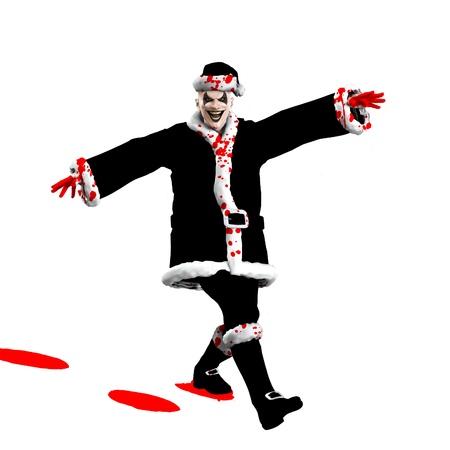 Evil Santa Claus clown skipping through the snow. Stock Photo