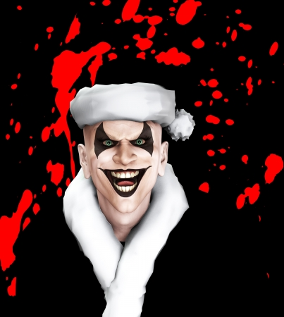 maniacal: Evil clown Santa covered in blood.
