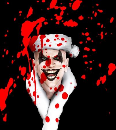 Evil clown Santa covered in blood.