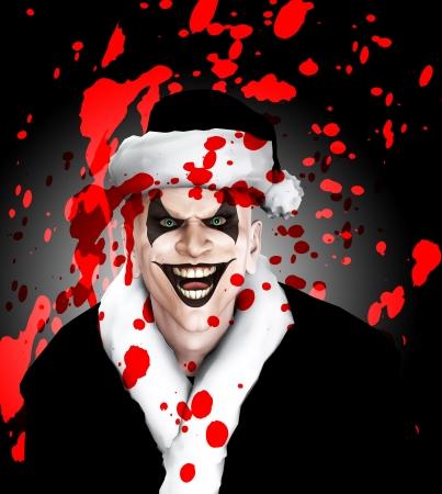 clownophobia: El mal payaso de Santa cubierto de sangre.