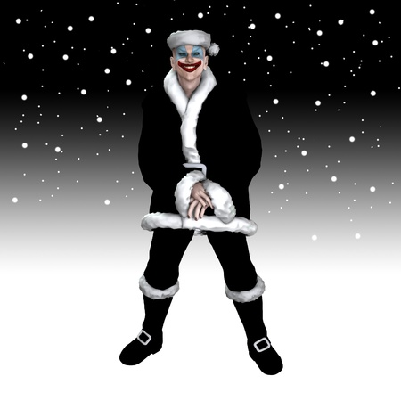 Scary insane clown Santa Claus surrounded by snow