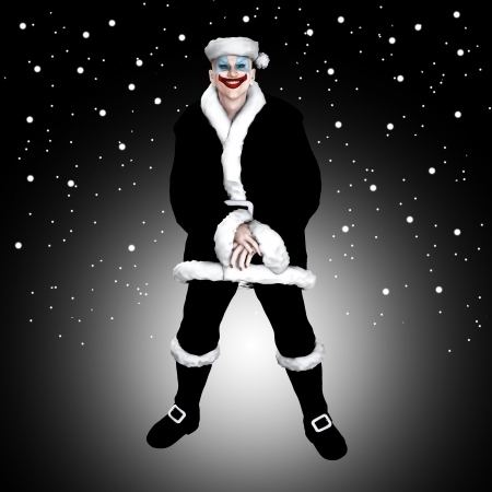 clownophobia: Scary insane clown Santa Claus surrounded by snow