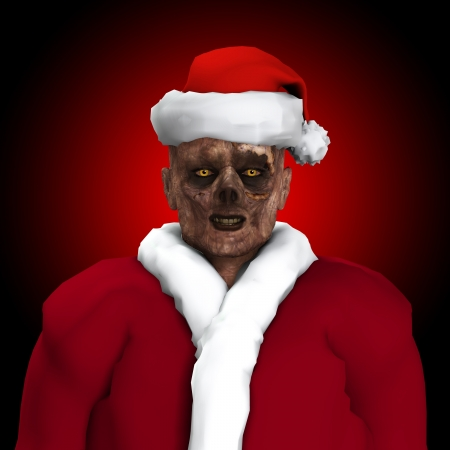 Zombie dressed up as Santa Claus   Stock Photo