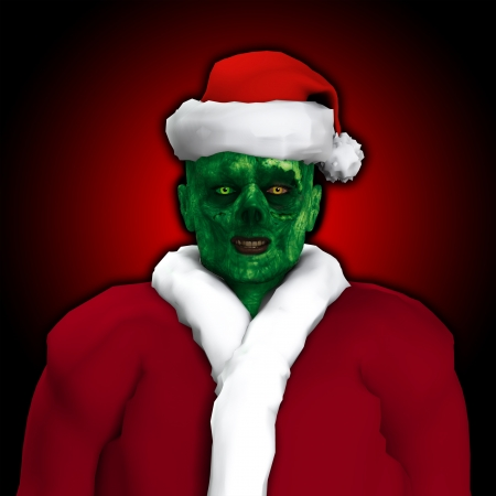 Zombie dressed up as Santa Claus   photo