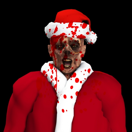 A Zombie father Christmas covered in blood Stock Photo - 16879418