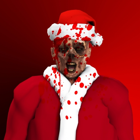 A Zombie father Christmas covered in blood Stock Photo - 16879422